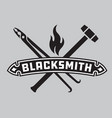 blacksmith emblem or badge vector image vector image