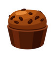 brown homemade muffin tasty baked spongy cake vector image vector image