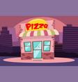 building or pizzeria facade flat cartoon pizza vector image vector image