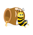 cartoon bee sitting about honey pot on white vector image vector image