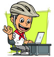 cartoon cyclist boy character with laptop vector image vector image