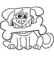 Cartoon Dog with big bone for coloring vector image