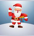 cartoon happy santa claus holding gift box and wav vector image