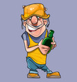 cartoon joyful male worker in a helmet with a vector image vector image