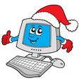 christmas smiling computer vector image vector image