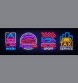 collection neon signs transport neon logo emblems vector image