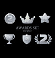 collections awards trophy silver awards icons set vector image