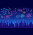 colorful festive fireworks in dark evening sky vector image vector image