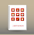 cover of diary or notebook planning icons vector image vector image