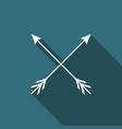 crossed arrows icon isolated with long shadow vector image
