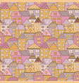 cute cartoon pattern with tiny houses and trees vector image