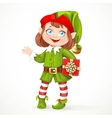 Cute little girl Santa elf with gift vector image