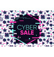 cyber sale glitch banner abstract vector image