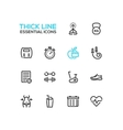 Diet and Fitness - Thick Single Line Icons Set vector image