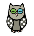 doodle owl bird with closed eyes in glasses vector image vector image