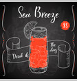 dring poster cocktail sea breeze for vector image vector image
