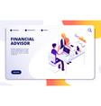 financial advisor isometric concept business data vector image vector image