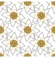 floral lines lotus flower yellow and gray vector image vector image