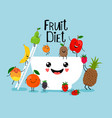 fruit salad with white bowl vector image vector image
