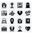 Funeral icon set vector image vector image