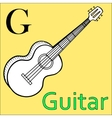 G letter alphabet Coloring book guitar vector image vector image