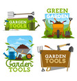 garden tools icons and symbols vector image vector image