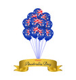 happy australia day helium balloons with golden vector image vector image