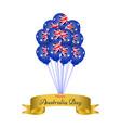 happy australia day helium balloons with golden vector image