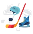 Hockey equipment icons set in flat design style vector image vector image
