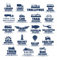 icons set for transport mechanics vector image
