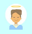 male with angel nimbus emotion profile icon man vector image vector image