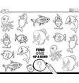 one a kind game with sea animals color book vector image vector image