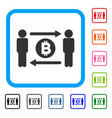 people exchange bitcoin coin framed icon vector image vector image
