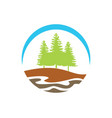pine tree mountain hill logo vector image vector image