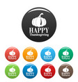 pumpkin happy thanksgiving icons set color vector image