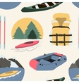 Rafting and kayaking icons collection pattern vector image vector image
