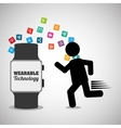 running man silhouette wearable technology media vector image