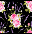 seamless floral pattern with pink roses and vector image vector image
