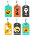 set cute halloween tags vector image