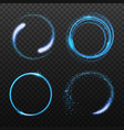 set neon blue circle light effects realistic vector image