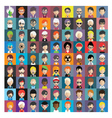set people icons in flat style with faces 15 b vector image vector image