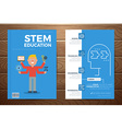 Stem education book cover and flyer template vector image