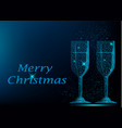 two blue polygonal glasses of champagne vector image