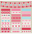 Valentines Day decoration and washi tapes vector image vector image