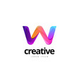 vibrant trendy colorful creative letter w logo vector image vector image