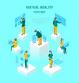virtual reality glasses concept with people 3d vector image