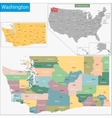 Washington map vector image vector image
