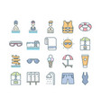 water park outline color icons set vector image