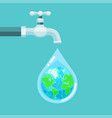 water tap with earth globe inside water drop vector image vector image