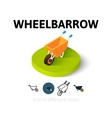 Wheelbarrow icon in different style vector image
